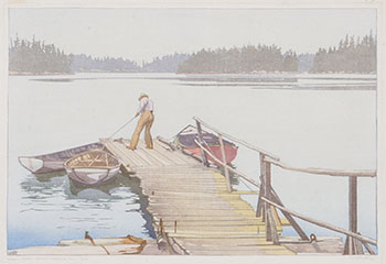 Sharp's Dock, Pender Harbour by Walter Joseph (W.J.) Phillips