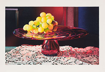 A Glow of Grapes on Garnet Glass by Mary Frances Pratt