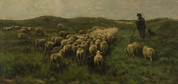 Shepherd with his Flock by Anton Mauve