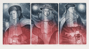 Three Mummers by David Lloyd Blackwood