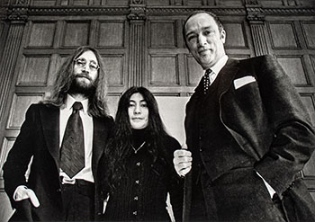 John Lennon and his wife Yoko Ono, in Canada as part of their crusade for peace, meet with Prime Minister Pierre Trudeau, December 23 1969 in Ottawa by Peter Bregg