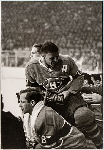 Dick Duff and Jean-Guy Talbot, Game 7, NHL Finals, May 1, 1965 by Henri Cartier-Bresson