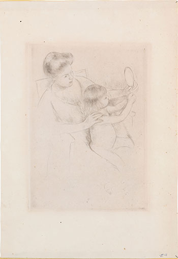 Looking into the Hand Mirror (No. 2) by Mary Cassatt