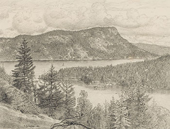 Mount Maxwell, from above Maple Bay by Edward John (E.J.) Hughes